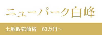 ニューパーク白峰土地販売価格 60万円~