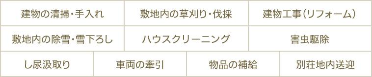 別荘オプションサービス Optional services